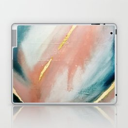 Celestial [3]: a minimal abstract mixed-media piece in Pink, Blue, and gold by Alyssa Hamilton Art Laptop & iPad Skin