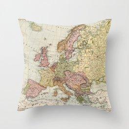 Atlas Map of Europe (1912) Throw Pillow