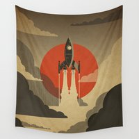 voyage Wall Tapestries featuring The Voyage (Grey) by Danny Haas