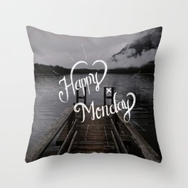 Happy Monday - Typography & Lettering Throw Pillow