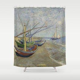 "Vincent Van Gogh ""Fishing boats on the Beach at Les Saintes-Maries-de-la-Mer"" Shower Curtain"