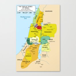 Map of Twelve Tribes of Israel from 1200 to 1050 According to Book of Joshua Canvas Print