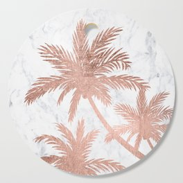 Tropical simple rose gold palm trees white marble Cutting Board