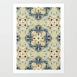 Protea Pattern in Deep Teal, Cream, Sage Green & Yellow Ochre  Art Print