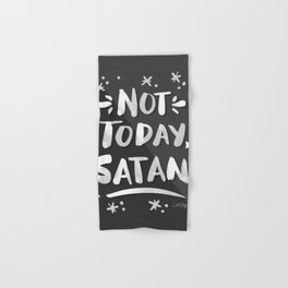 Not Today, Satan – White Ink on Black Hand & Bath Towel