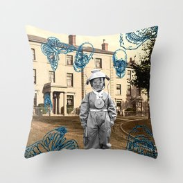 haunted child Throw Pillow