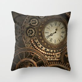Steampunk Clockwork Throw Pillow