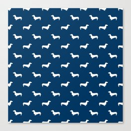 Dachshund pattern minimal navy blue and white dog lover home decor gifts accessories silhouette Canvas Print