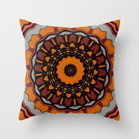 gladiator Throw Pillows featuring Furious Gladiator by Silentwolf