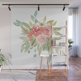 Loose Boho Watercolor Florals Wall Mural