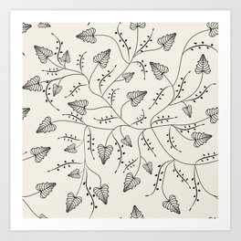 Beautiful herbs. Black and white pattern . Art Print