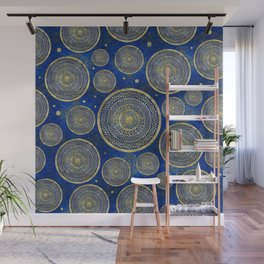 Ethnic Tribal Circles - Lapis Lazuli and Gold Wall Mural