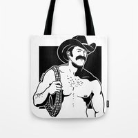 cowboy Tote Bags featuring Cowboy by Fast Drip