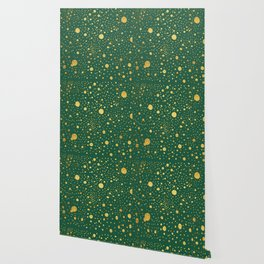 Gold leaf hand drawn dot pattern on petrol green Wallpaper