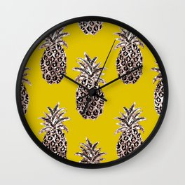 Gold Pineapples on mustard Wall Clock