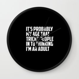 adult funny saying and quote Wall Clock