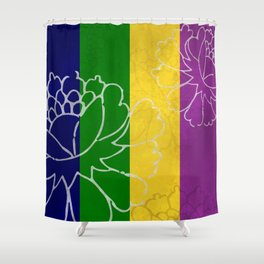 Chinese Flowers & Stripes - Purple Yellow Green Blue Shower Curtain