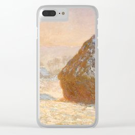 Wheatstacks, Snow Effect, Morning by Claude Monet Clear iPhone Case
