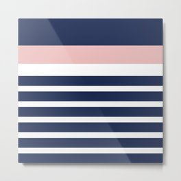 Cheerful Striped Pattern in Navy Blue, Pink, and White Metal Print