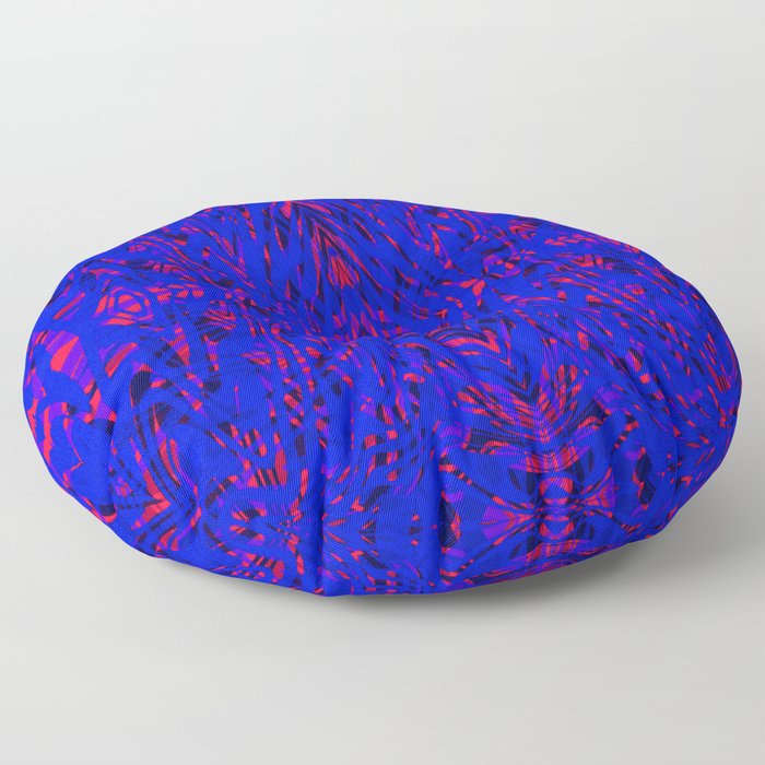 blue on red symmetry Floor Pillow