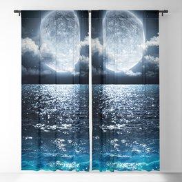 Full Moon over Ocean Blackout Curtain