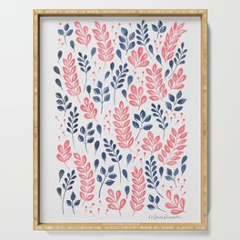 Wistful Floral - Coral and blue Serving Tray