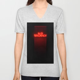 No Vacancy sign in red Unisex V-Neck