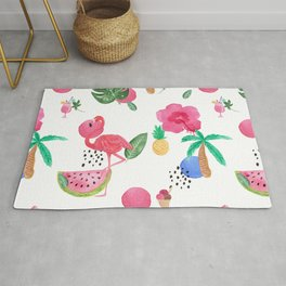 Colorful tropical summer flowers & pink flamingos Rug