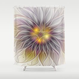Luminous Flower, Abstract Fractal Art Shower Curtain