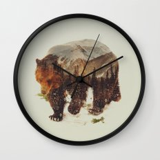 Wild Grizzly Bear Wall Clock