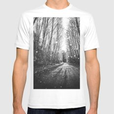 Forest Trees Nature Path - Follow the Fireflies Mens Fitted Tee MEDIUM White