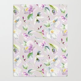 Pastel Floral in Cassia Purple and Blush Poster