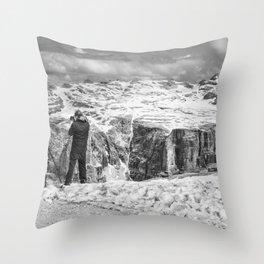 Photographer on the Snow Throw Pillow