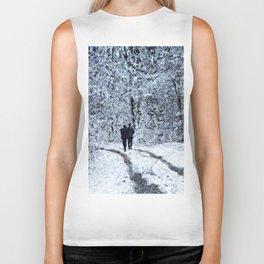 Snow path in the wood, winter walk Biker Tank