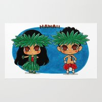hawaii Area & Throw Rugs featuring Hawaii by sakurajoker