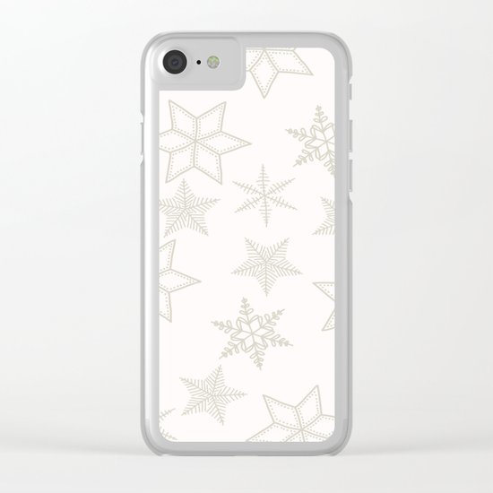 Beige Snowflakes on white background Clear iPhone Case