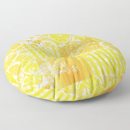 Yellow and white citrus plaid floral patchwork Floor Pillow