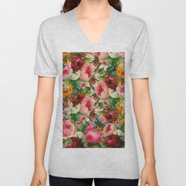 Colorful Floral Pattern | Je t'aime encore Unisex V-Neck