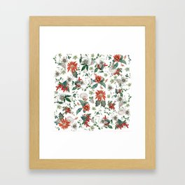 Festive Red Green Botanical Poinsettia Cactus Floral Pattern Framed Art Print