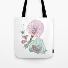 Fan and handbag in the style of Marie Antoinette Tote Bag