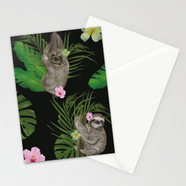 Sloth with tropical leafs Stationery Cards