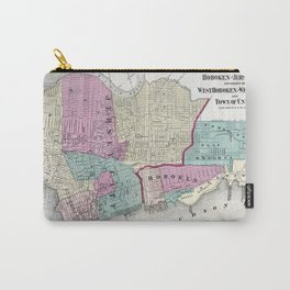 Vintage Map of Jersey City, Hoboken & Weehawken NJ Carry-All Pouch
