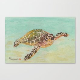 Sea Turtle Watercolor Canvas Print
