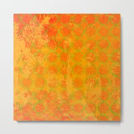 Stencil Overlay in orange 1 Metal Print