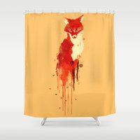 forest Shower Curtains featuring The fox, the forest spirit by Picomodi