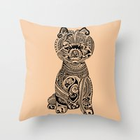 pomeranian Throw Pillows featuring Polynesian Pomeranian by Huebucket