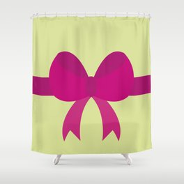 Pink Bow on Soft Green Shower Curtain