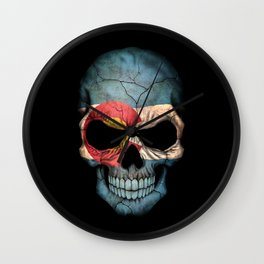 Dark Skull with Flag of Colorado Wall Clock