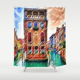 Canals of Venice, Italy Watercolor by Jéanpaul Ferro Shower Curtain