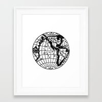 globe Framed Art Prints featuring Globe by Gallymogger Print